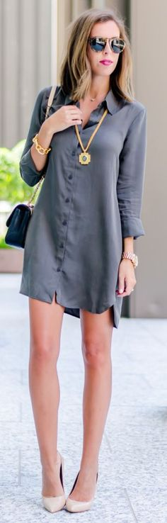 Grey Fall Shirtdress Outfit Idea by For The Love Of Fancy