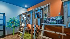 boys bedrooms camping themed- treehouse theme bedrooms - backyard themed kids rooms - cat decor - dog decor - bugs and critters theme bedrooms - camping theme bedrooms - Happy Camper little boys outdoor theme bedroom