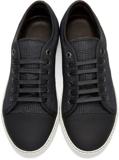 3c1128e7b8a7f3 Lanvin - Black Shark-Embossed Leather Sneakers Leather Sneakers