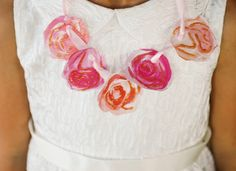Create a simple and pretty fairy party necklace using pretty printable peony blooms for less than a dollar! A fun party activity for your guests!
