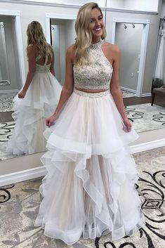 Prekrasna dva dijela perli Ivory Long Prom haljina