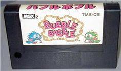 Cartridge artwork for Bubble Bobble on the MSX 2.