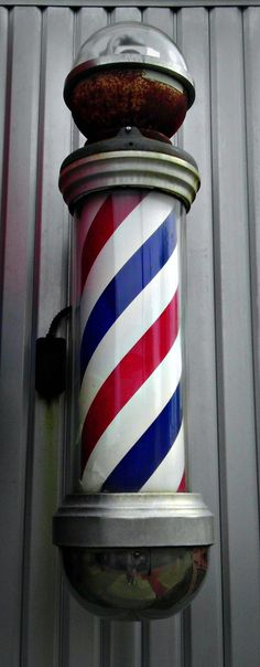 Barber Pole - Jon Lander - copyright 2013 - kind of fun to visit an old-time barber, and I'll bet they don't make these poles anymore