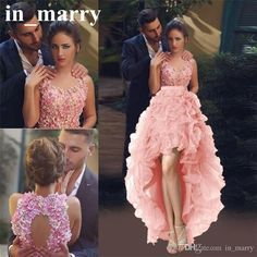 Arabic Designer Pink High Low Prom Dresses 2017 A Line Sexy Keyhole Back 3D Flowers Ruffles Organza Skirt Girls Formal Dresses Evening Wear A Line Prom Dresses Dresses Party Evening 2017 Prom Dresses Online with $214.86/Piece on In_marry's Store | DHgate.com