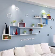 55 Wall Shelves Design Ideas - Show Off Your Precious Possessions With Floating Wall Shelves - Interior Design Ideas - Girls Room Wall Decor, Wall Shelf Decor, Wall Shelves Design, Living Room Decor, Living Room Wall Shelves, Living Rooms, Unique Wall Shelves, Wall Shelving, Tv Wanddekor