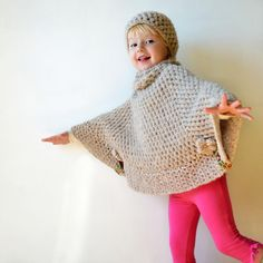 Poncho for Ayanna w/ matching hat Crochet Scarves, Crochet Shawl, Crochet Clothes, Knit Crochet, Crochet Girls, Crochet Bebe, Crochet For Kids, Knitting Patterns, Crochet Patterns