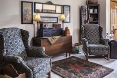 Surround a horizontal mirror with framed stitcheries for a diverse wall display. (Photographed by Bill Mathews, styled by Gloria Gale)  More information: http://www.countrysampler.com/issues/detail.php?issue_code=C0114