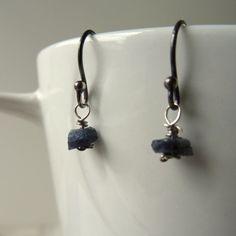Raw sapphire earrings, genuine rough Sapphire nuggets, September birthday, raw stone earrings, sapphire heirloom jewelry, dark blue earrings.  Handmade in the UK by CalicoRoseStudio £15.95