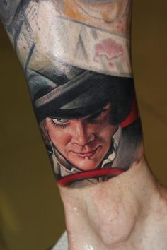 by Victor Chil A Clockwork Orange by Stanley Kubrick Best Leg Tattoos, Leg Tattoo Men, Bad Tattoos, Funny Tattoos, Time Tattoos, Ankle Tattoo, Body Art Tattoos, Tattoos For Guys, Cool Tattoos