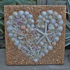 Valentine's Day Decor, Seashell Heart Collage, Mixed Media Heart Painting, Seashell Valentine's Decor, Beach Wedding Decor, Coastal Wall Art