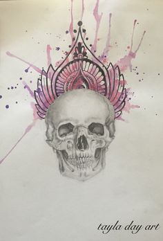 #art #watercolor #tattoo design #skull
