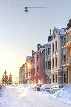 Houses in Helsinki, Finland in snow Travel Around Europe, Travel Maps, Helsinki, Finland, Sunlight, Villa, Explore, Architecture, Street