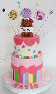Celebrate with Cake!: Candy Themed Tier Cake With Teddy Topper Girly Cakes, Tiered Cakes, Candy Colors, Birthday Cake, Party Ideas, Sweet, Desserts, Kids, Cake Ideas