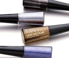 Liquid eye liner in onyx, platinum, copper and sapphire