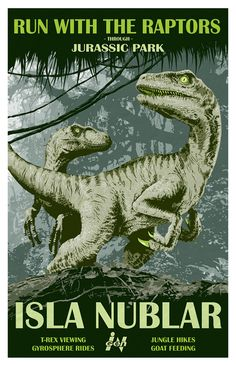 Jurassic Park Isla Nublar Travel Poster 11x17 by KnerdKraft