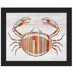 "Click Wall Art 'Crab Wood' Framed Graphic Art on Canvas Frame Color: Black, Size: 22.5"" H x 26.5"" W x 1"" D"