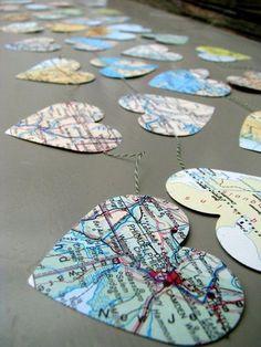 Maps Garland for destination wedding or a travel themed wedding / http://www.deerpearlflowers.com/travel-themed-wedding-ideas-youll-want-to-steal/2/