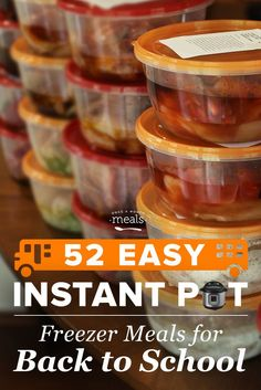 The Instant Pot (commonly known as the programmable pressure cooker) is our favorite kitchen appliance for getting dinner on the table fast. What better way to prepare yourself for back-to-school than to put together some easy Instant Pot meals for the fr Crock Pot Freezer, Freezer Cooking, Freezer Meals, Crockpot Meals, Freezer Dinner, Freezer Recipes, Cooking Bacon, Batch Cooking, Healthy Cooking
