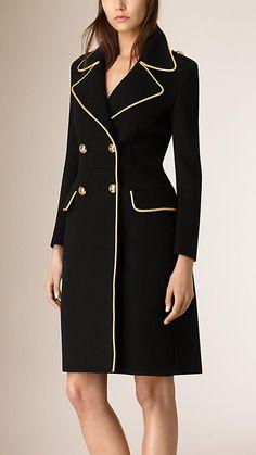 Black Regimental Detail Cashmere Coat - Image 1