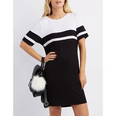 Charlotte Russe Football Stripe T-Shirt Dress (30 CAD) ❤ liked on Polyvore featuring dresses, black combo, t shirt dress, flare dress, tee shirt dress, shift dress and short sleeve shift dress
