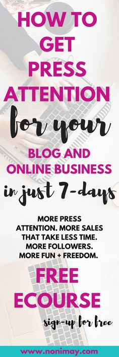 A media kit that sells free ecourse for bloggers and business owners. More press attention. More sales that take less time. More followers. More fun + freedom. Why you need a media kit and what is it? #press #blogging #blog #onlinebusiness #business #freecourse #emailcourse #ecourse