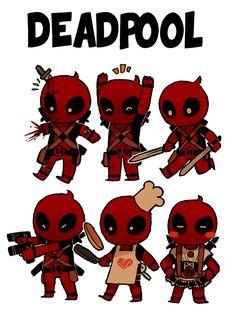 Chibi/Kawaii Deadpool is adorable Cute Deadpool, Deadpool Und Spiderman, Deadpool Chibi, Deadpool Stuff, Deadpool Art, Deadpool Theme, Lady Deadpool, Marvel Dc Comics, Marvel Heroes