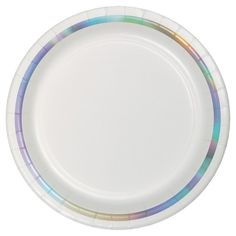 "The Iridescent Foil Line Dessert Plates will surely enhance the elegant ambiance at your party tables. This cake plate measures 7"" and features a colorful radiant line around the border of the plate. Sold in packages of 10, this tableware item is perfect for elegant events and formal occasions."