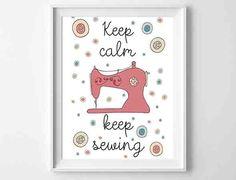 """Druck """"Keep Calm - Keep Sewing von MrsPea von Mr. Pea auf DaWanda.com"""