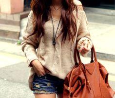 loose sweater, ripped jean shorts, big brown bag