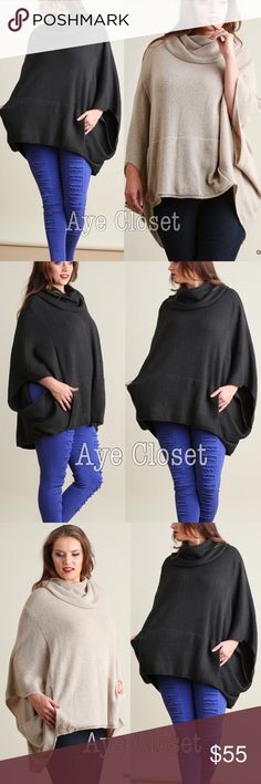 Plus size oversized poncho style sweater charcoal Plus size Oatmeal or Deep Charcoal Oversized loose fit stunning poncho cape settle cowl neck sweater cardigan.  Sexy Coverup. Pairs with jeans , basic leggings and sexy leathers leggings. Fabric content : cotton 60% and 40% spandex. Medium weight  comfy fabric. New.retail item. ‼️Price is firm unless bundled‼️this listing is for🚩 DEEP CHARCOAL 🚩 Boutique Sweaters Shrugs & Ponchos
