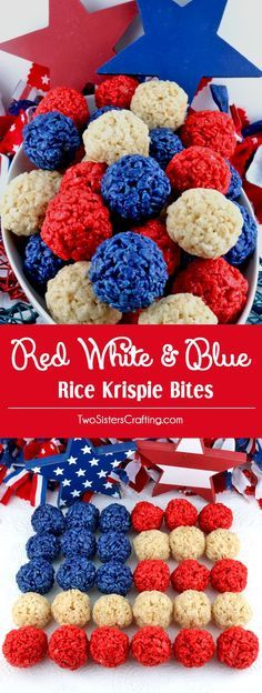 Red White and Blue Rice Krispie Bites - Yummy, bite-sized balls of crunchy, marshmallow-y delight. This is a of July dessert that is easy to make and even yummier to eat. These colorful and festiv(Easter Baking Rice Krispies) Mini Desserts, 4th Of July Desserts, Fourth Of July Food, 4th Of July Party, Holiday Desserts, Holiday Treats, Holiday Recipes, Patriotic Party, Recipes Dinner