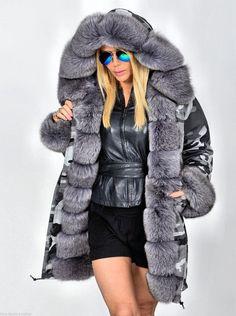 NEW 2015 Military Camo Parka Coat FOX FUR Class OF Sable Mink Chinchilla Jacket   eBay