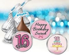 Check out our sweet 16 birthday candy selection for the very best in unique or custom, handmade pieces from our shops. Birthday Candy, Unicorn Birthday Parties, 16th Birthday, Birthday Party Favors, Happy Birthday Sarah, Sweet 16 Birthday, Hersey Kisses, Bar Wrappers, Printing Labels