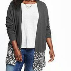 NWOT Open front sweater cardigan Sz 3X. I have three different prints in this style and size. All NWOT. Dark grey and white. 60 cotton/ 40 acrylic. Slight trapeze hem (longer at front sides, and a little shorter in back). Old Navy Sweaters Cardigans