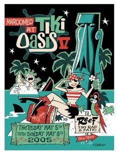 """TIKI OASIS 5 color hand printed serigraph designed by artist Derek Yaniger. It served as the official event serigraph for Tiki Oasis in Palm Sp. Retro Art, Vintage Art, Vintage Signs, Vintage Postcards, Tiki Art, Tiki Tiki, Tiki Decor, Hawaiian Tiki, Tiki Lounge"