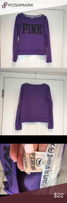 Victoria secret Pink sweet shirt purple S Good condition L 22 inches B 19 inches long sleeve PINK Victoria's Secret Other