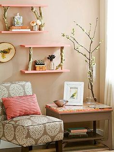 I don't like the pink, but I like the wood branches with the shelves.