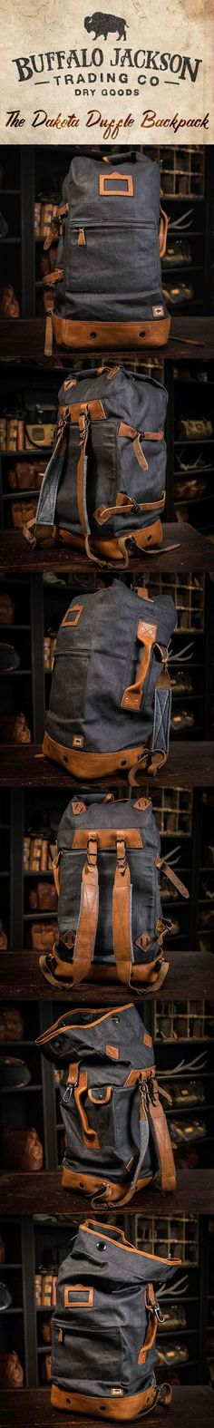 Crafted of waxed canvas and distressed full grain leather, this men's vintage military duffle backpack was built to honor the memory of good men and good days. Fill it with your sports gear or go hiking across Europe. This bag can handle it. padded leather shoulder straps   interior laptop sleeve   finest leathers and canvases
