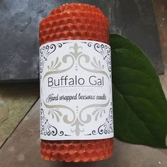 DEEP ORANGE hand wrapped Beeswax Candle // Unscented // Buffalo Gal Home Collection by BuffaloGalOrganics on Etsy