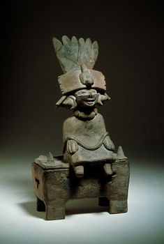 Female figurine sitting on a coffer-like object	 Central Veracruz, Middle to Late Classic (500-900 A.D.)