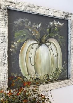 4 Easy Steps For Developing A Sunroom Simple Rustic White Pumpkin Etsy Fall Canvas Painting, Autumn Painting, Autumn Art, Tole Painting, Canvas Art, Fall Paintings, Rustic Painting, Canvas Paintings, White Pumpkins