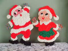 Vintage Melted Plastic Popcorn Christmas Santa Mrs Claus Wall Decoration | eBay