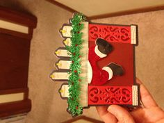 Cricut Christmas Card - Santa in Chimney***  Cartridges used: A Quilted Christmas  Martha Stewart branch punch