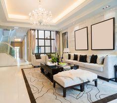 Modern Living Room with Chandelier, simple marble tile floors, interior wallpaper, Trey ceiling, Crown molding