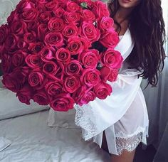 Roses  Pink / Woman/ White dress  Beautiful / Present / Long brown hair