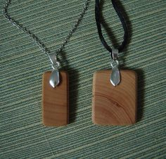 Coffee-Dyed Natural Wood Pendant Necklace - Uses Pinch Bails - or Glue-on Bail with E6000 #WoodenBeads #Bails #ScrabbleTiles