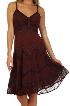 Sakkas 4031 Stonewashed Rayon Embroidered Adjustable Spaghetti Straps Mid Length Dress - Chocolate - S/M