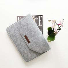 Grey Felt and Leather Ipad Laptop Sleeve by JanetGwenDesigns