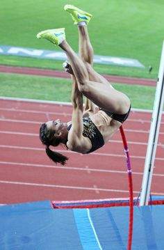Olympic champion Yelena Isinbayeva of Russia wins the pole-vault event at the International track-and-field meeting, held at the Stade Jean Adret in Sotteville-les-Rouen in Normandy. Long Jump, High Jump, Sotteville Les Rouen, Bmx Girl, Heptathlon, Running Pictures, Triple Jump, Human Poses Reference, Sport Top