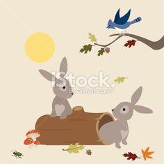 Bunnies Wake Up Royalty Free Stock Vector Art Illustration